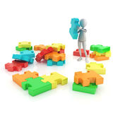 3d character and shinny and glossy puzzle pieces. Character and puzzle pieces on white background Stock Photography