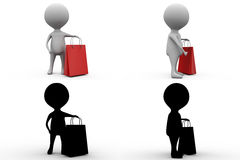 3d character shoping concept  collections with alpha and shadow channel Royalty Free Stock Image