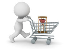 3D Character with Shopping Cart Buying Hourglass - Buying Time C. 3D character with shopping cart buying an hourglass. Buying time concept.  on white background Stock Photography