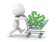 3D Character with Shopping Cart and Dollar Symbols Stock Photos