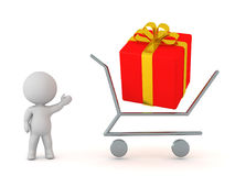 3D Character with Shopping Cart and Wrapped Gift. 3D character showing a shopping cart outline with a large wrapped red gift box.  on white background Royalty Free Stock Photography