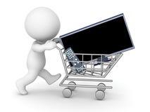 3D Character Shopping for HDTV Stock Photo