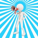 3d character shouting in megaphone. 3d rendering Stock Photography