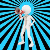 3d character shouting in megaphone. 3d rendering Royalty Free Stock Images