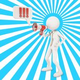3d character shouting in megaphone. 3d rendering Stock Images