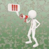 3d character shouting in megaphone. 3d rendering Stock Photos