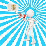 3d character shouting in megaphone about money. 3d character shouting in megaphone , 3d rendering Royalty Free Stock Image