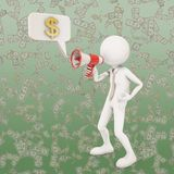3d character shouting in megaphone. 3d rendering Royalty Free Stock Photos