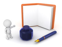 3D Character Showing Agenda plus Fountain Pen and Ink Pot Stock Photos