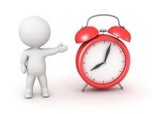 3D Character Showing Alarm Clock Stock Photos