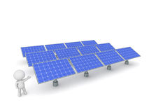 3D Character Showing Array of Solar Panels Stock Photo