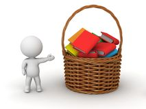 3D Character Showing Basket with Books Royalty Free Stock Photo