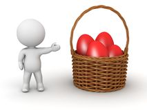 3D Character Showing Basket with Easter Eggs Royalty Free Stock Images