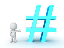 3D Character showing blue hashtag or pound sign Stock Images