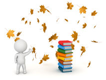 3D Character Showing Books and Autumn Leaves - Back to School. 3D character showing stack of colorful books and autumn leaves falling. Back to school concept Royalty Free Stock Photography