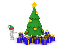 3D Character Showing Cartoonish Christmas Tree with Wrapped Gift Royalty Free Stock Images