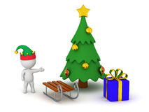 3D Character Showing Christmas Tree with Gift and Sled Royalty Free Stock Photo