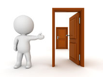 3D Character Showing Closed Door Behind Open Door Stock Photos