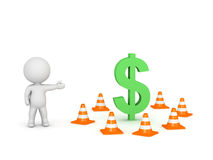 3D Character Showing Dollar Symbol and Orange Cones. 3D character showing a large dollar symbol surrounded by orange road cones on white background Stock Photos