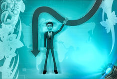3d character showing down falling arrow illustration Royalty Free Stock Images