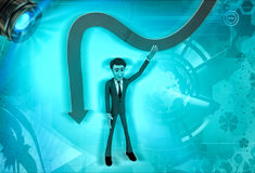 3d character showing down falling arrow illustration Stock Photo
