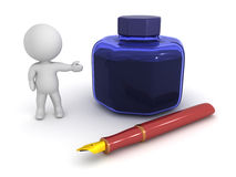 3D Character Showing Fountain Pen and Ink Pot. A 3D character showing a large ink pot and a fountain pen.  on white background Royalty Free Stock Image
