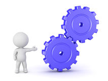 3D Character Showing Gears Stock Photography