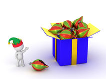 3D Character Showing Gift Box with Colorful Globes Royalty Free Stock Images
