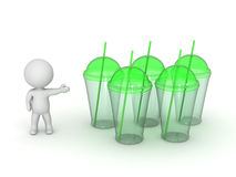 3D Character Showing Juice Drink Cups with Straws Royalty Free Stock Photo
