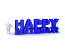 3D Character Showing Large Text with Happy Birthday. 3D character showing large 3D text reading Happy Birthday!  on white background Royalty Free Stock Images