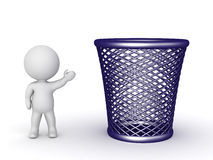 3D Character Showing Large Trash Basket Royalty Free Stock Images