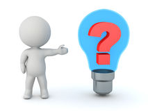 3D Character Showing Light Bulb with Question Symbol Royalty Free Stock Photography