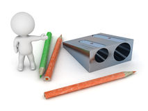 3D Character Showing Pencil and Pencil Sharpener Stock Photography