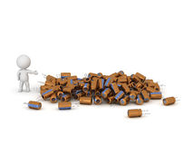 3D Character Showing Pile of Capacitors Royalty Free Stock Image
