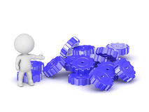 3D Character Showing Pile of Gears Stock Images