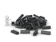 3D Character Showing Pile of Microchips Stock Image