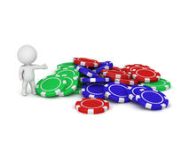 3D Character Showing Pile of Poker Chips Stock Photo
