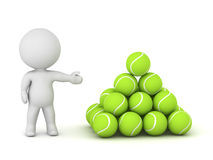 3D Character Showing Pile of Tennis Balls Stock Photography
