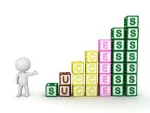 3D Character Showing Progressive Stacks of Letter Blocks Spelling Success Stock Photo