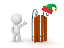 3D Character Showing Sled and Elf Hat Stock Images