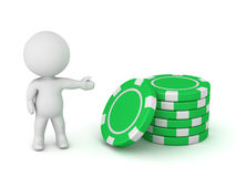3D Character Showing Small Stack of Poker Chips Royalty Free Stock Images
