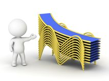 3D character showing stack of beach chairs Royalty Free Stock Photography