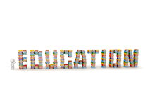 3D Character Showing Stacks of Books Spelling Education Royalty Free Stock Image