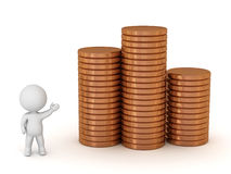 3D Character Showing Stacks of Brone Coins Royalty Free Stock Image