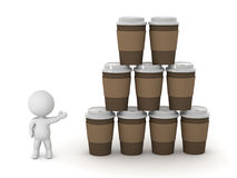 3D Character Showing Stacks of Coffee Cups Royalty Free Stock Photography