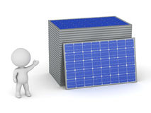3D Character Showing Stacks of Solar Panels Royalty Free Stock Photos