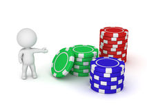 3D Character Showing Three Stack of Poker Chips Stock Photography