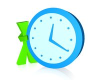 3D Character showing the Time. Abstract simple  graphic of 3d character and clock Stock Image
