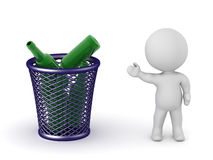 3D Character Showing Trash Basket with Bottles Stock Photo