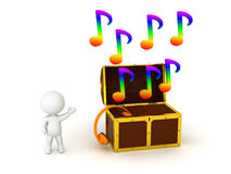 3D Character Showing Treasure Chest with Music Royalty Free Stock Photography
